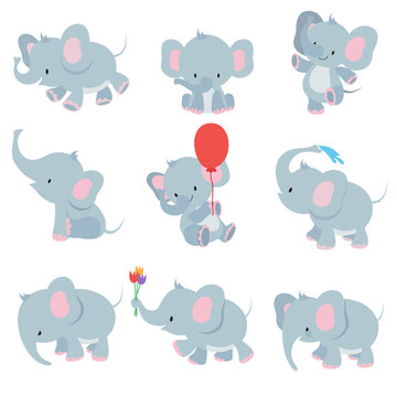 Cute cartoon baby elephants. Animals african safari animals vector set