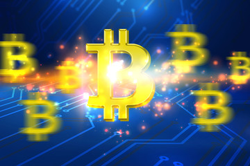 Bitcoin symbol and electrical circuit background. Digital currency