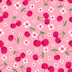 pattern with cherries and flowers