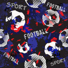 Abstract seamless football pattern for boys. Sport football pattern. Grunge sport urban backdrop with football ball. Sport wallpaper on black background with multicolor spots. Repeated pattern.