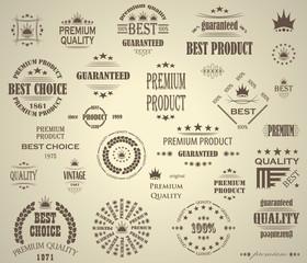 Premium Quality Labels Set Retro Vintage Design