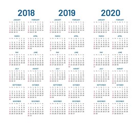 Year 2018 2019 2020 calendar vector design template. Compound planner with blue letters and numbers on a white background. Vector illustration