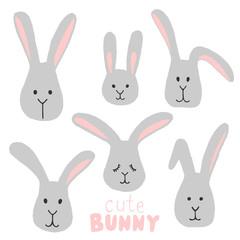 cute bunny, vector illustration.