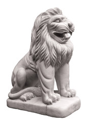 statue lion stone isolated