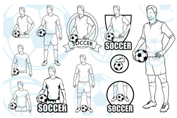 Set Of Football Players With Balls. Soccer player with a ball. Soccer logo. Soccer game.