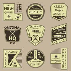 Set of vintage premium quality labels