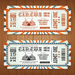 Vintage Retro Circus Tickets