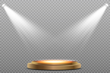 Wall Mural - Round podium, pedestal or platform illuminated by spotlights on white background. Stage with scenic lights. Vector illustration.