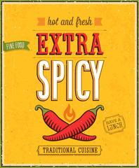 Wall Mural - Vintage Extra Spicy Poster.