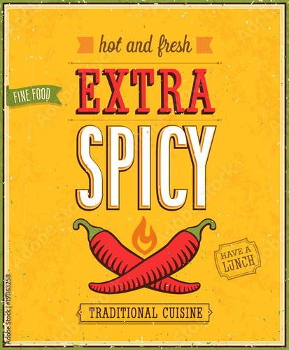 Wall mural Vintage Extra Spicy Poster.