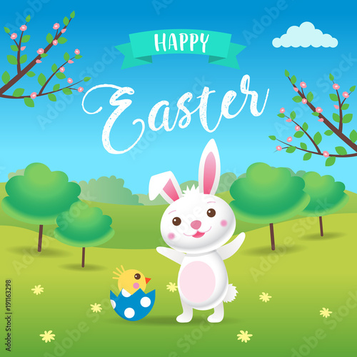 happy easter a cute cartoon easter bunny with spring landscape
