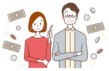 30代夫婦 お金のイメージイラスト