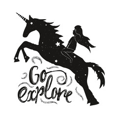Vector illustration with young girl and unicorn silhouette. Go explore insprational quote.