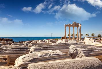 Ruins of Apollo temple in Side near Antalya, Turkey