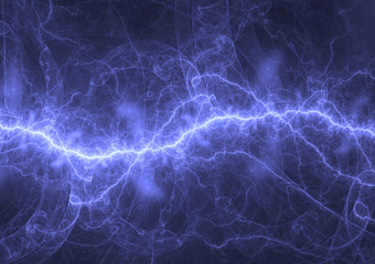 Blue plasma lightning, electrical and energy background