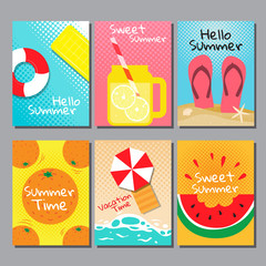 summer , layout design, greeting card, cover book, banner,  template design, vector illustration