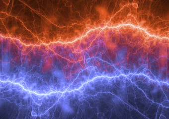 Fire and ice electrical lightning, plasma power background