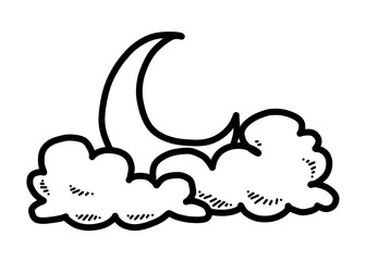 moon, cloud and star / cartoon vector and illustration, black and white, hand drawn, sketch style, isolated on white background.