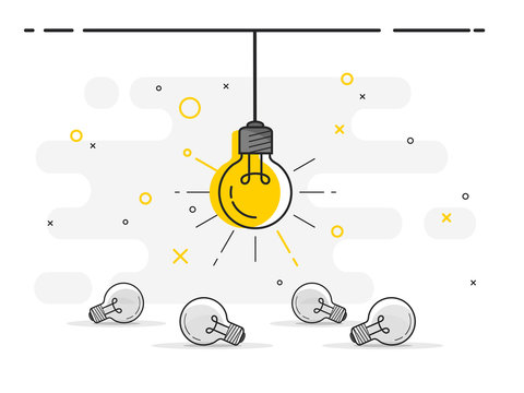 Set of laying light bulbs with one hanging and glowing. Trendy flat vector light bulb icons with concept of idea on white background.