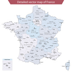 Detailed vector map of France