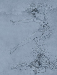 portrait of woman with sand drawing of a woman swimming with marine elements and bubbles, woman immersed,