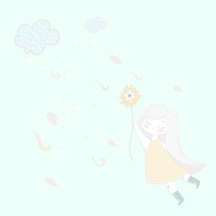 A small cloud blows and a sweet girl flies on a flower.