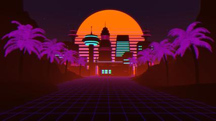 80s Retro Futuristic Synthwave Background 3D Illustration