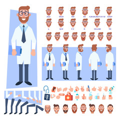 Flat Vector Male doctor character for your scenes. Character creation set with various views, hairstyles, face emotions, lip sync and poses. Parts of body template for design work and animation.