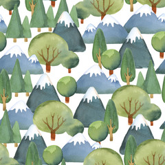 Watercolor seamless pattern of flat set of trees and blue mountains