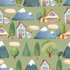 Watercolor seamless pattern of flat set of trees, house and blue mountains