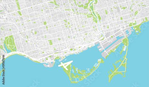 Urban vector city map of Toronto, Canada\