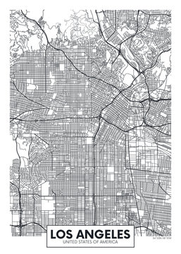 Vector poster map city Los Angeles
