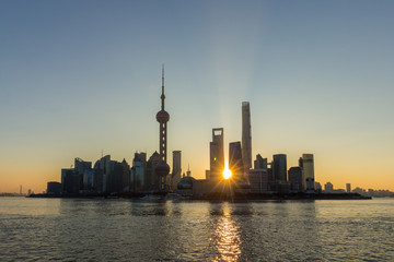 Panoramic Shanghai Skyline at Sunrise. Lujiazui Financial District and Huangpu River. View from The Bund Embankment. China.