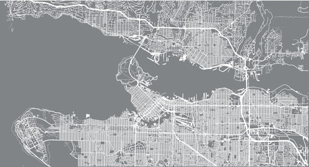 Urban vector city map of Vancouver, Canada Fototapete