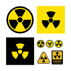 Set of radioactive contamination symbol. Danger contamination collection. Vector illustration. Isolated on white background