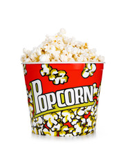 Full yellow bucket of popcorn, isolated on the white background.