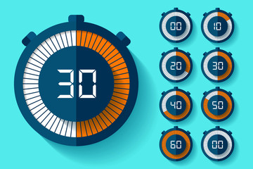 Stopwatch icons set in flat style, timers on color background. Sport clock. Vector design element for you business project