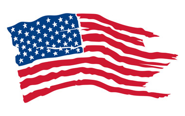 American flag / Vector illustration, shabby fluttering flag of the USA