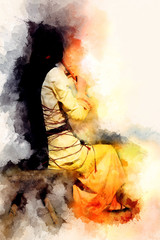 girl in a historical costume playing her flute and softly blurred watercolor background.