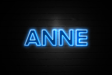 Anne neon Sign on brickwall Wall mural
