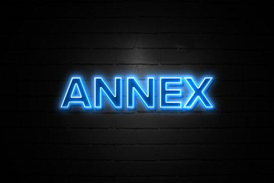 Annex neon Sign on brickwall