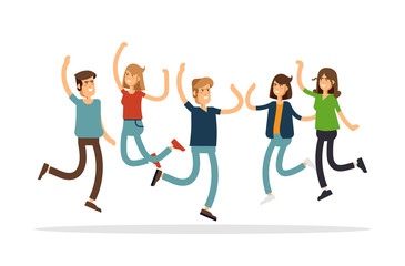 Vector illustration of happy young group of people jumping on a white background. The concept of friendship, emotions success.
