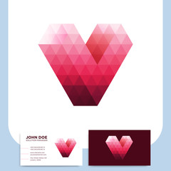 Abstract triangle letter V heart love logo icon polygonal style design template element