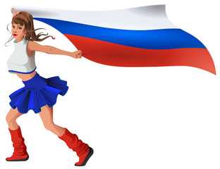 Russian woman fan holding flag. Beautiful girl cheerleader