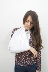 Broken arm immobilized