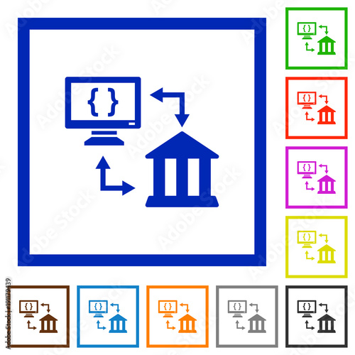 open banking api flat framed icons stock image and royalty free