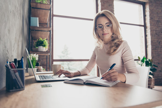 Portrait of beautiful confident with blonde curly hair clever woman wearing casual clothes, she is sitting at the table in front of computer and checking information in her diary and on the internet