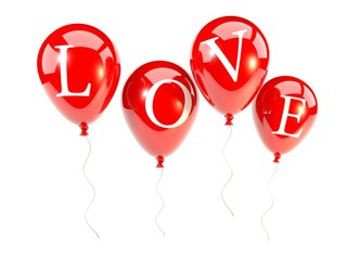 Red balloons with word love