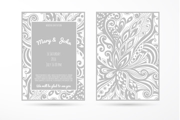 Wedding background with hand-made floral elements. Modern Wedding Collection.Vector illustration.