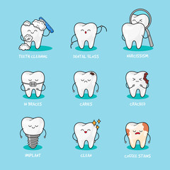 Happy teeth set. Cute tooth characters. Dental personage vector illustration.